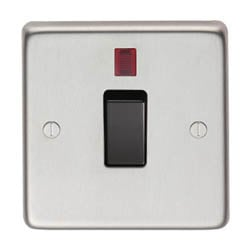 Satin Stainless Steel Single Switch & Neon - 20 Amp