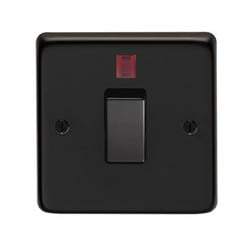 Matt Black Single Switch & Neon - 20 Amp