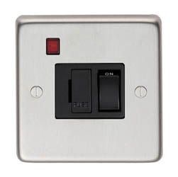 Satin Stainless Steel Fused Switch & Neon - 13 Amp