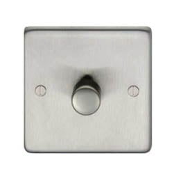 Satin Stainless Steel Single Dimmer Switch - 400w