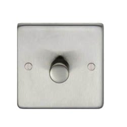 Satin Stainless Steel Single Dimmer Switch - 800w