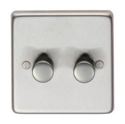 Satin Stainless Steel Double Dimmer Switch - 400w