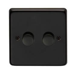 Matt Black Double Dimmer Switch - 400w