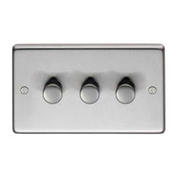 Satin Stainless Steel Triple Dimmer Switch - 400w
