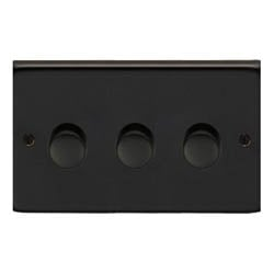Matt Black Triple Dimmer Switch - 400w