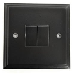 Black Double Light Switch