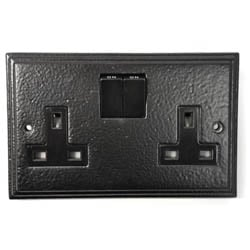 Black Double Socket | Electrical Switches