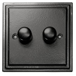Black Double Dimmer Switch