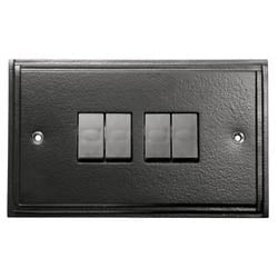 Black 4 Gang Light Switch