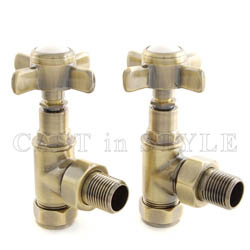 Westminster Crosshead Manual Angled Radiator Valves - Antique Brass