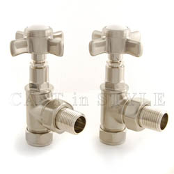 Westminster Crosshead Manual Angled Radiator Valves - Satin Nickel