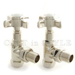 Westminster Crosshead Manual Angled Radiator Valves - Nickel