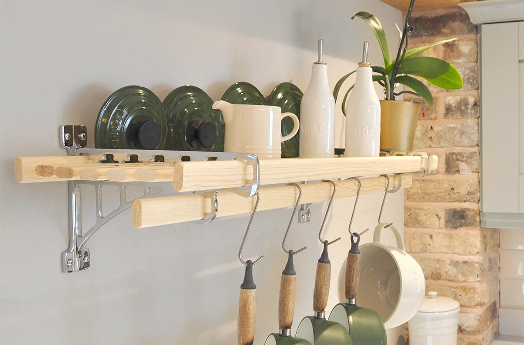 Picture of: Shelf Racks Iron Pan Racks Kitchen Pot Racks